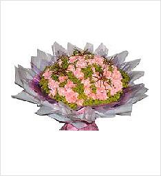 祝妈妈健康快乐鲜花一束(66枝粉色康乃馨+绿叶)
