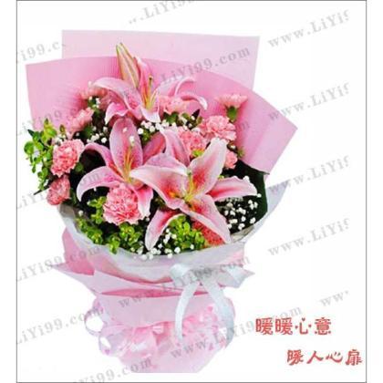 精美鲜花(11枝红康乃馨+2枝粉百合)