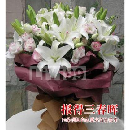 19朵顶级白色香水百合花束