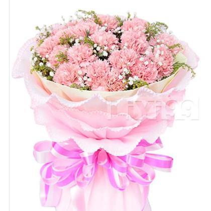 16枝顶级粉色康乃馨,满天星和黄莺搭配丰满