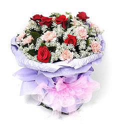 红玫瑰6枝,香槟色(或粉色)康乃馨12枝