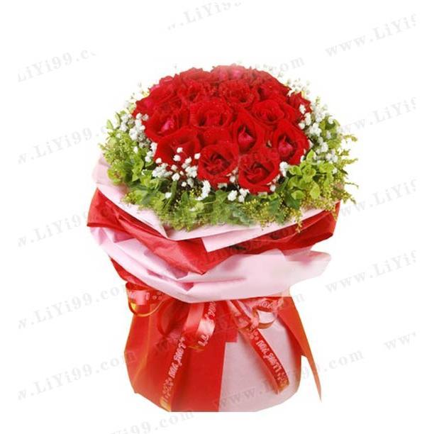 热情真爱红玫瑰花束包装一束 想送女朋友生日礼物 送什么生日礼物给老婆 什么生日礼物最有意义