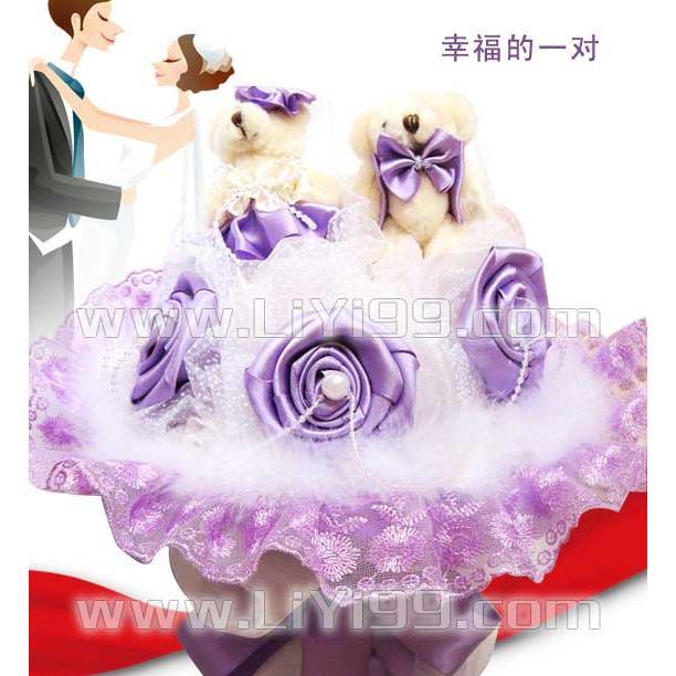紫色泰迪卡通花束一束