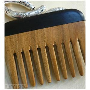 天然檀木牛角合拼梳子 角木梳子 宽齿梳 1个
