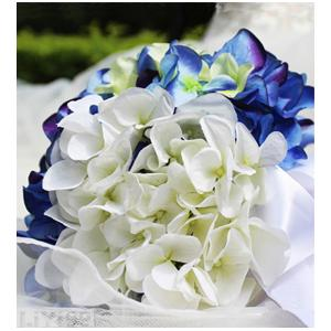 蓝白绿三色绣球手捧花一束 -捧着幸福