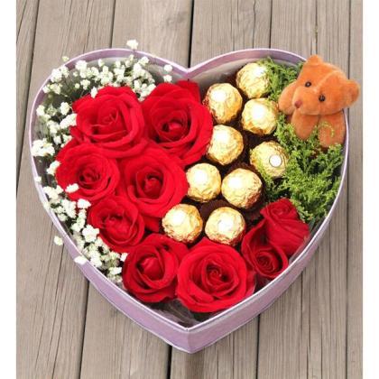 宝贝,我爱你!(鲜花+巧克力)