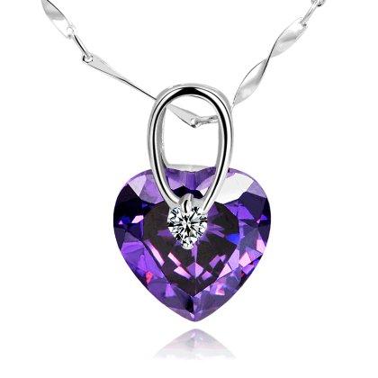 七夕情人节送老婆 创意时尚浪漫心形紫色水晶吊坠送银链子; 心随你动