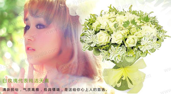 纯真爱恋白玫瑰包装花束一束