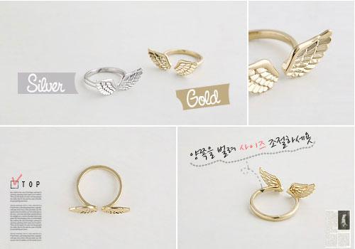 韩国进口时尚公主可爱小翅膀戒指一个