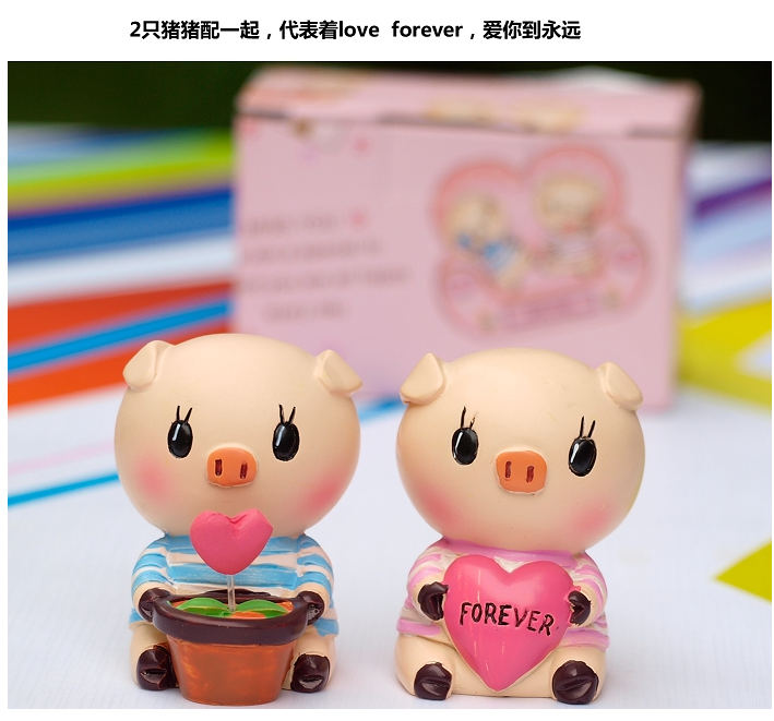 情侣可爱小猪摆设