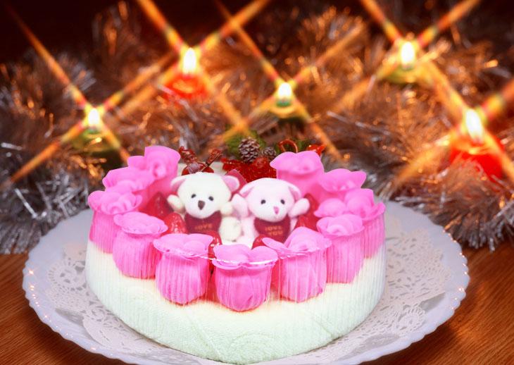 粉色蛋糕毛巾套装 生日贺卡祝福语