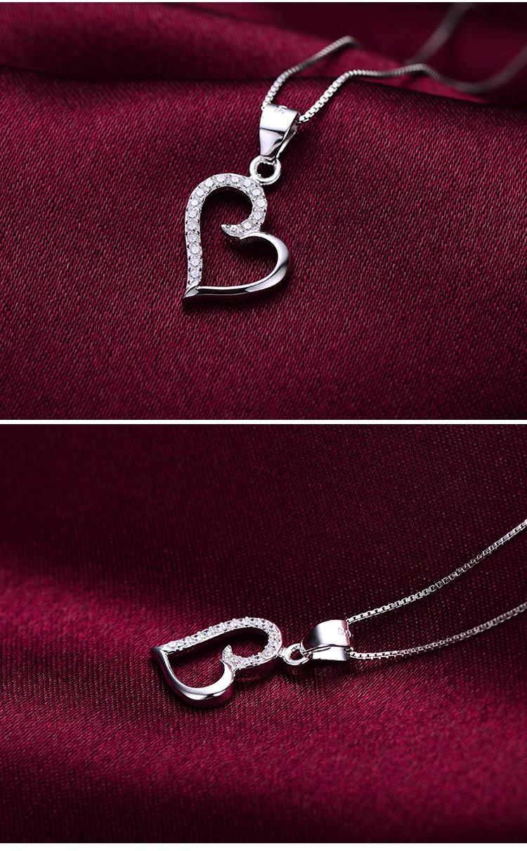 简约质感心形镶锆石女士吊坠项链一条+纯银链子