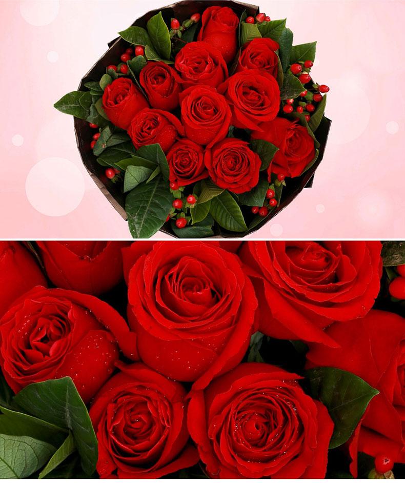 精美鲜花11枝玫瑰花一束